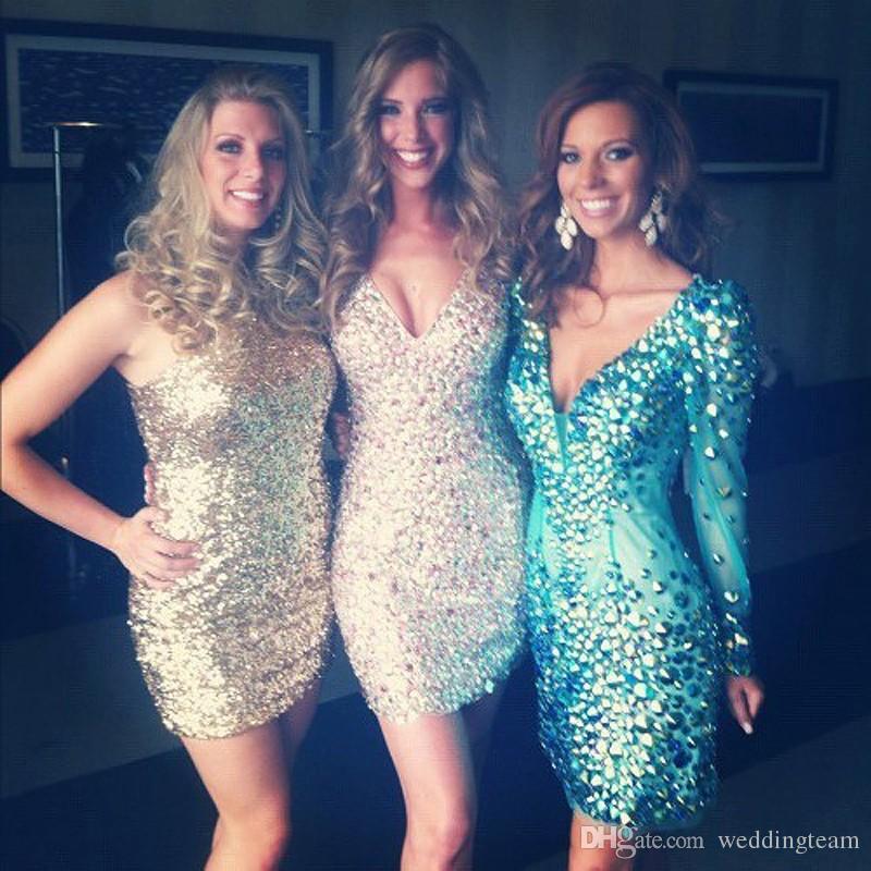 Charmante Farbe Strass Party Kleider über Knie V Hals Lange Ärmel Prom Kleid Frauen Mini Cocktailkleid
