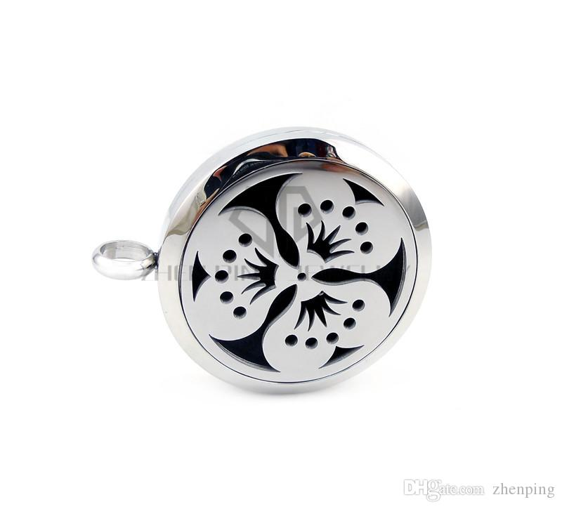 New Round Silver Peach blossom 30mm Aromatherapy / Essential Oils Diffuser Locket Pendant Necklace with Colorful Pads and Chain