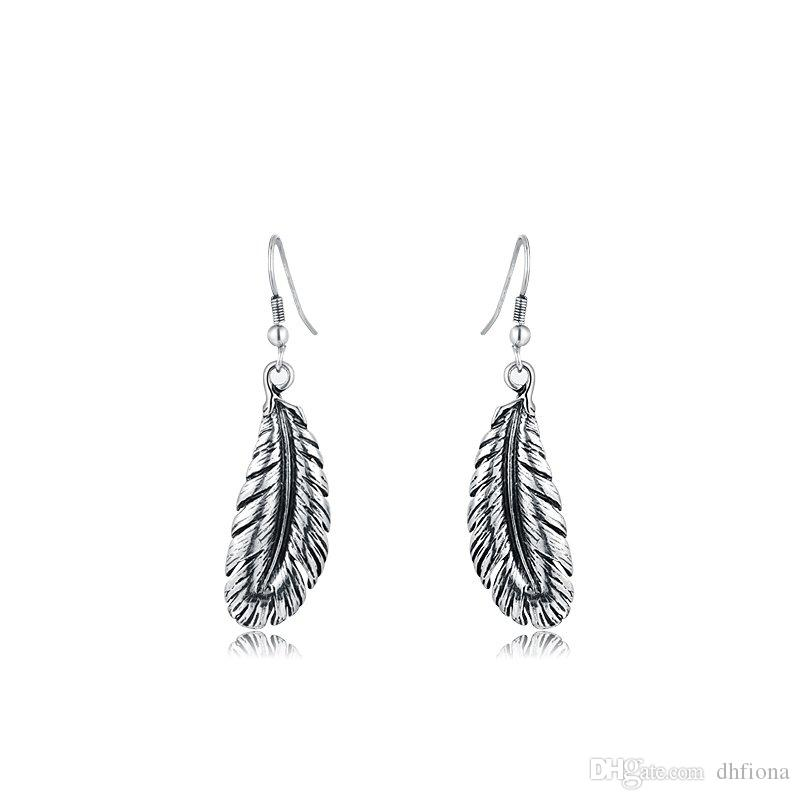Канал серьги мотаться серьги ретро старинные перья форма мотаться очарование серьги для женщин уха крюк ювелирные изделия 2020661067