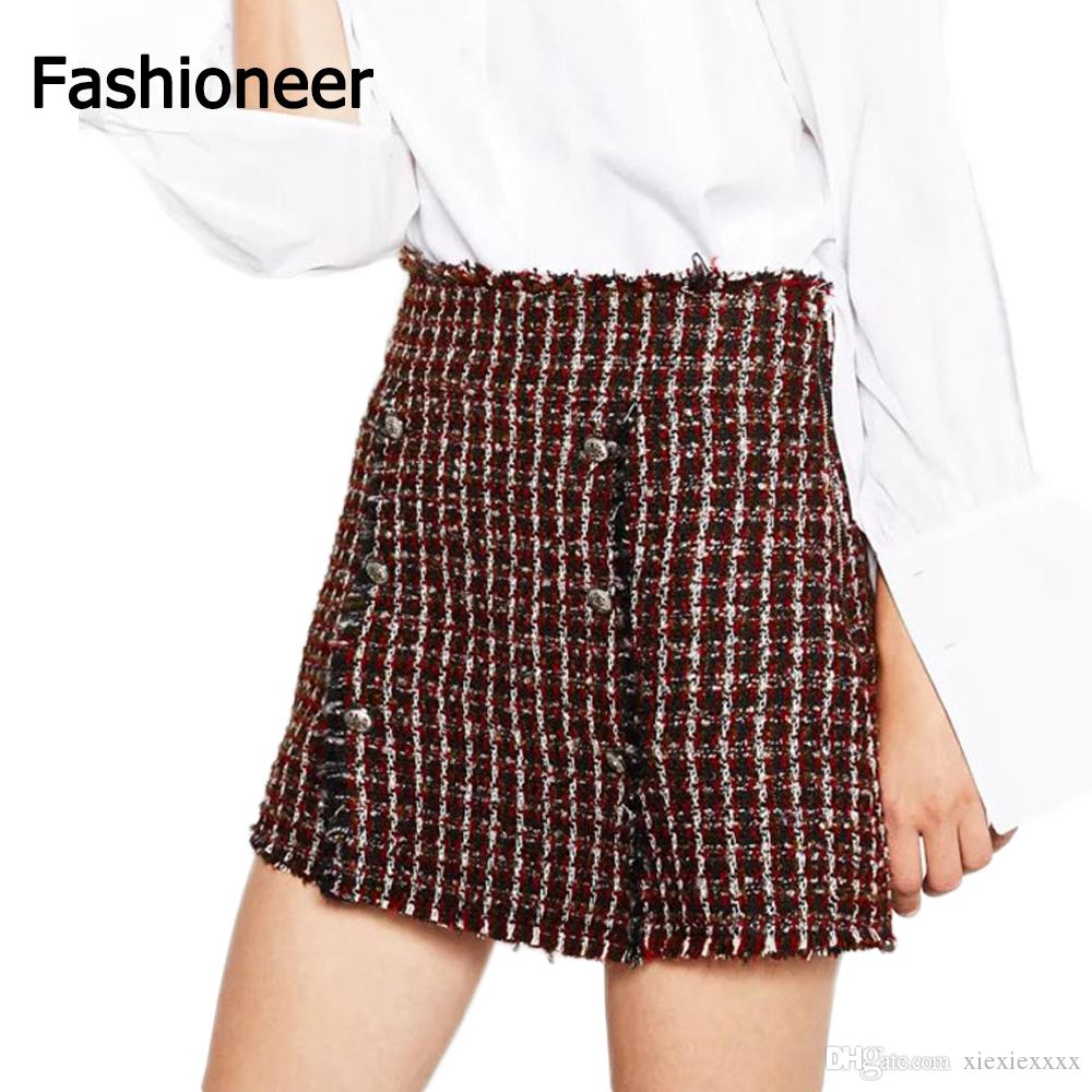 2017 Fashioneer Skirts For Women Crochet A Line Slim Short Button ...