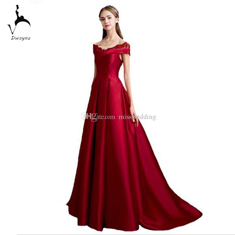 Wholesale Price 2017 Evening Dress Gown Cap Sleeve Red Satin Dress Corset  Back A-line Design Formal Floor Length
