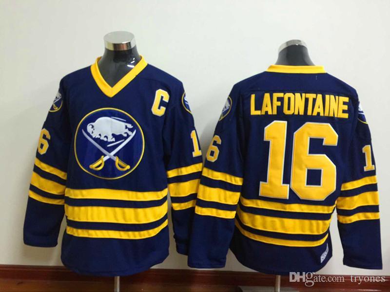 Buffalo Sabes Hockey-Trikots 16 Pat Lafontaine 11 Gilbert Perreault 39 Dominic Hasek 1992 CCM Vintage genäht Jersey C Patch