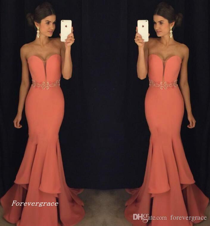 2017 Fashion Mermaid Sweetheart Evening Dress Crystal Sash Floor-length Long Formal Holiday Wear Prom Party Gown Custom Made Plus Size
