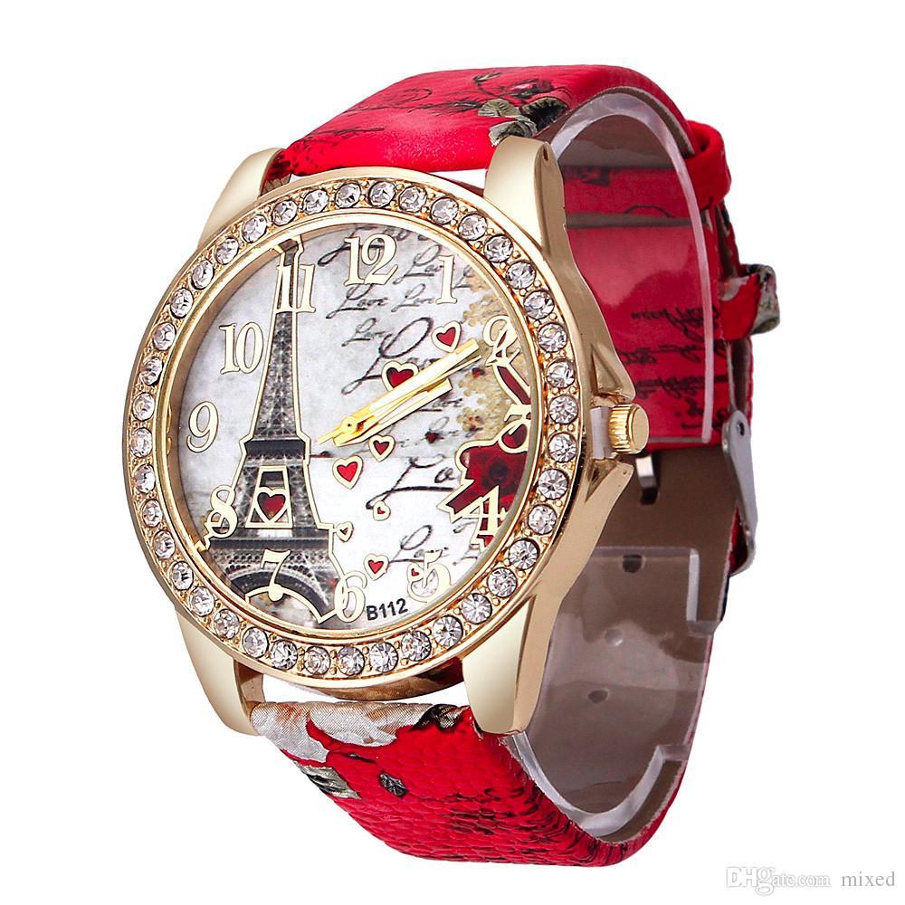 Женские Часы Красочные Эйфелева Башня Любовь Смотреть