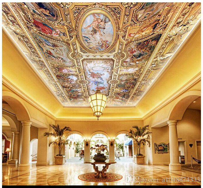 High Quality Custom 3d ceiling wallpaper murals High-end European royal hand-painted three-dimensional painting ceiling frescoes on the dome