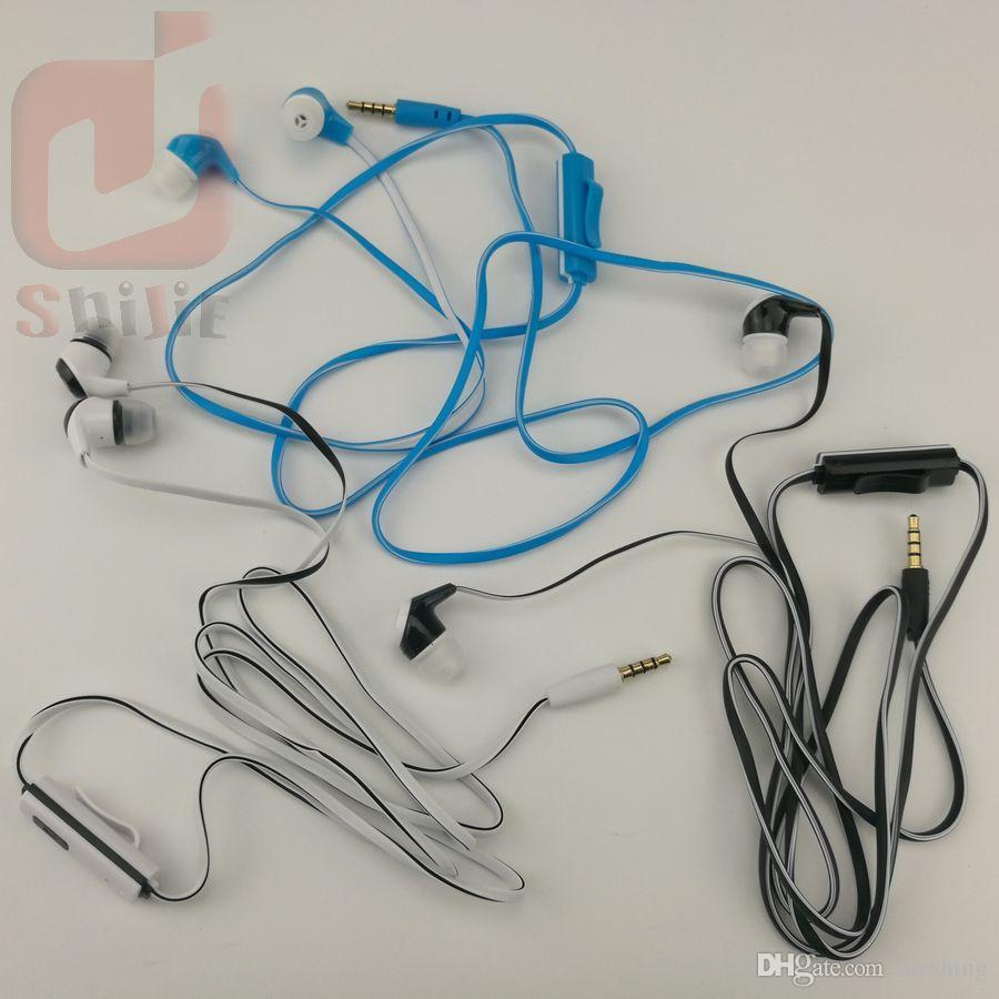 Оригинальный 1.2 м Длина кабеля наушники плоская лапша дизайн провода наушники с микрофоном синий белый черный лапша наушники с микрофоном мягкий материал 1000ps