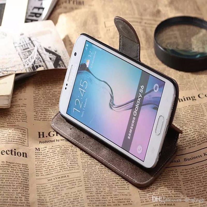 Para Samsung S8 Retro Funda delgada de billetera de cuero con tapa de folio magnético para Samsung Galaxy S8 / S7 / S7 Edge / Note 8