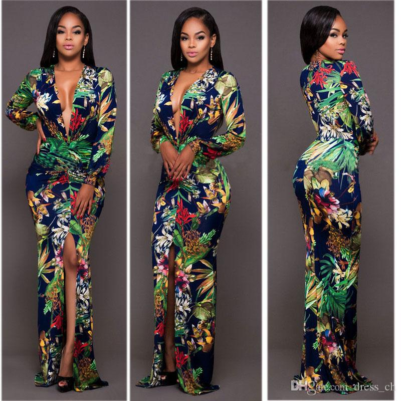 84a67af61f7 S 3XL Womens Slim Side Slit Floral Print Long Maxi Dress Club Cocktail Party  Evening Prom Dresses Long Sleeved Clubwear Plus Size Grey Summer Dress  Casual ...