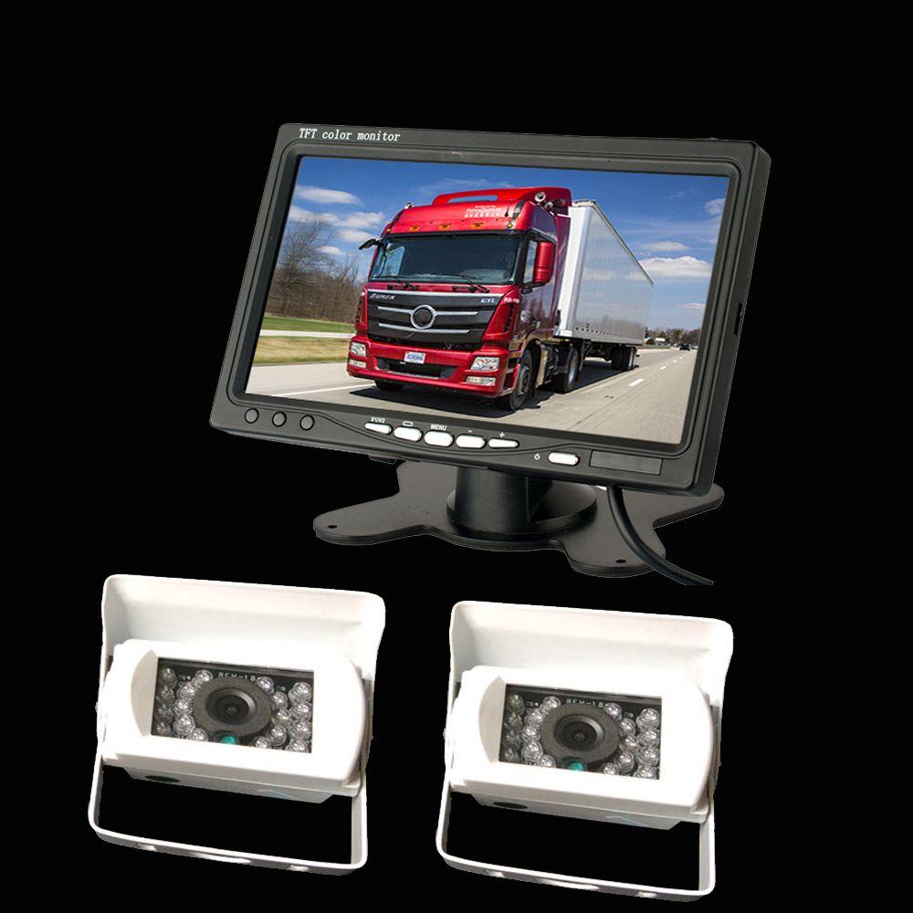 2 xVehicle cámara de copia de seguridad de retroceso + 7