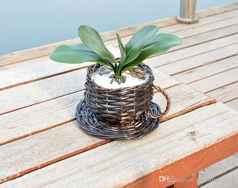 Pastoral Cup Shape Handmade Straw Wicker Basket Flower Pot Succulent Plants Planter Rattan Flowerpots Vase Home Decor ZA3141