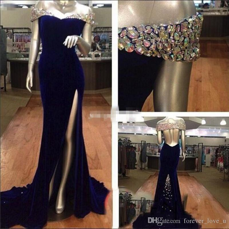Sparkly Sexy Blue Velvet Off The Shoulder Evening Gown Mermaid ...