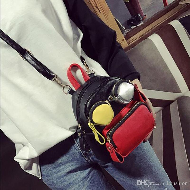 Brand fashion women cartoon backpack catwalk candy handbag double strap back pack bags cute lady purse party smile purse - XX02