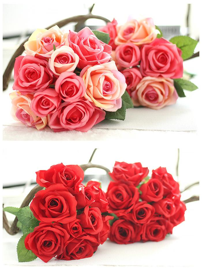 Wholesale artificial white bridal bouquets Hand Tied white red silk rose for wedding and home desk or hotel decoration