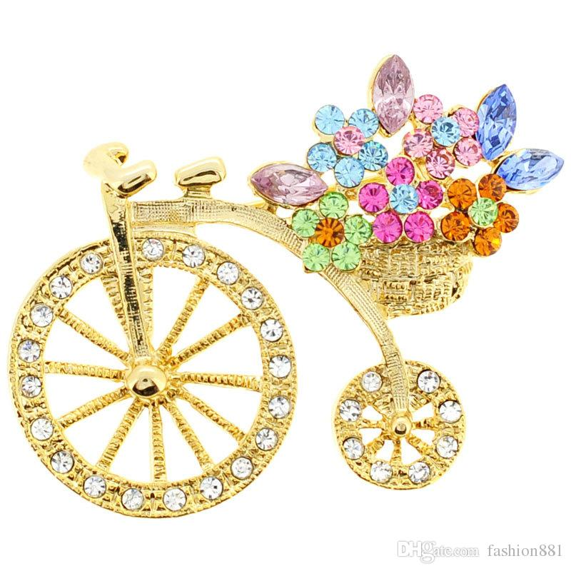 Hochrad mit Blumenkorb Pin Kristall Fahrrad-Brosche 1,625 x 1,375 Zoll