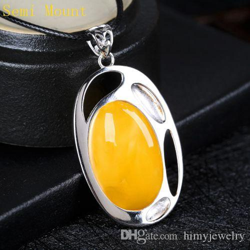 Real Sterling Silver 925 Plated White Gold Semi Mount Pendant for Oval Cabochon 18x26mm Amber Agate Lapis Lazuli Turquoise Jewelry Setting