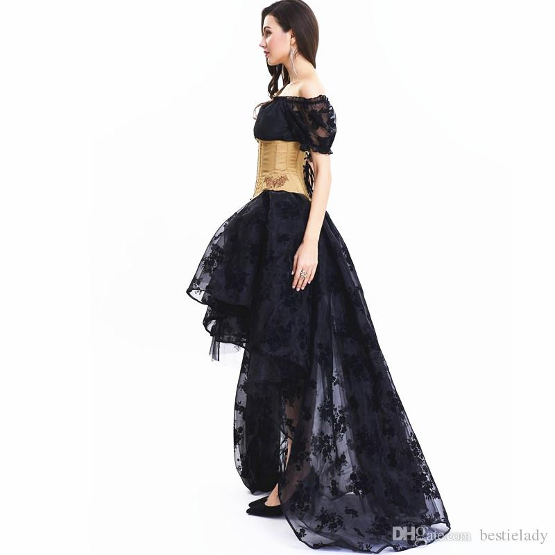 Lolita Lace Mesh Rose Floral Sleeves Crop Top with Floor Length High Low Asymmetrical Ruffler Multi Layer Mesh Floral Lace Hi-low Skirt
