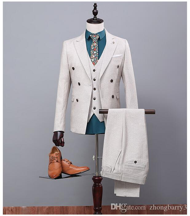 Off White 2017 Man Prom Suits Ternos Masculino Para Casamento Mens ...