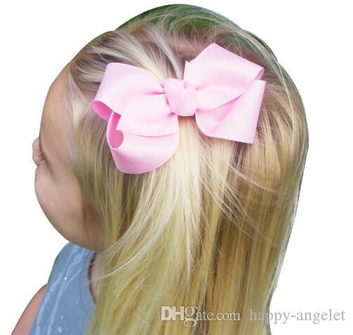 헤어 리본 헤어핀 한국어 3 인치 Grosgrain 리본 머리카락 아기 소녀 액세서리 클립 부티크 넥타이 HD3201