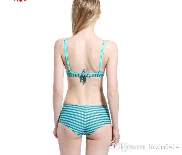 Bandage Bikini Set Push-up Padded Swimwear Safety Belt Shorts Comfortable Swimsuit Navy Red Green Stripe Girl Biquini