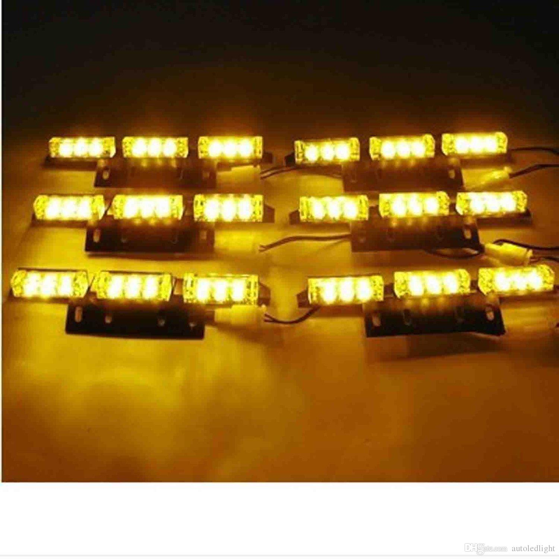 Lighting Auto LED Light Amber/White/White &Amber 54 LEDs Emergency Vehicle Strobe Flash Lights for Front Deck/Grille or Rear