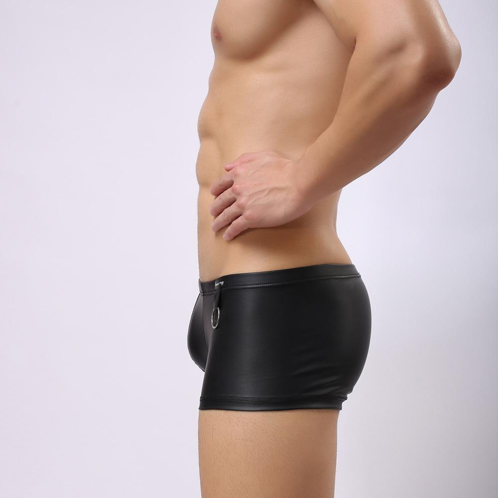 New woxuan panties men ring imitation leather men's underwear faux leather tight sexy underwear boxer plus size