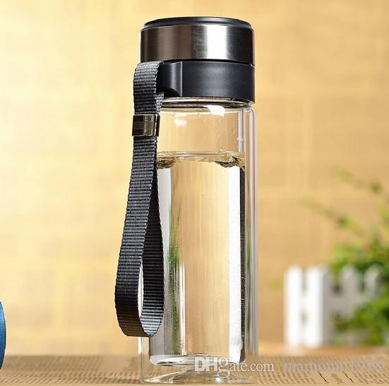320 M de camada dupla de vidro garrafa de água com infusor Selado copo de chá de vidro transparente com corda venda quente J1460