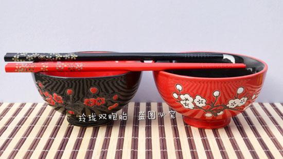 Ciotola gli amanti della ciotola sposata in stile giapponese e da tavola, ciotola color sottosmalto, ciotola matrimoni, 2 ciotole, 2 bacchette, una varietà di motivi