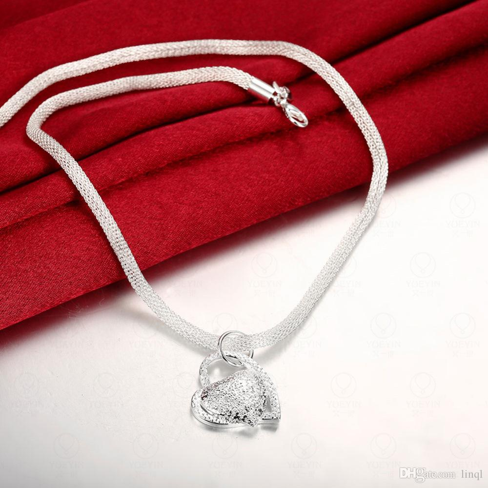 Silver jewelry, European and American creative heart pendant, Silver Lovers Necklace