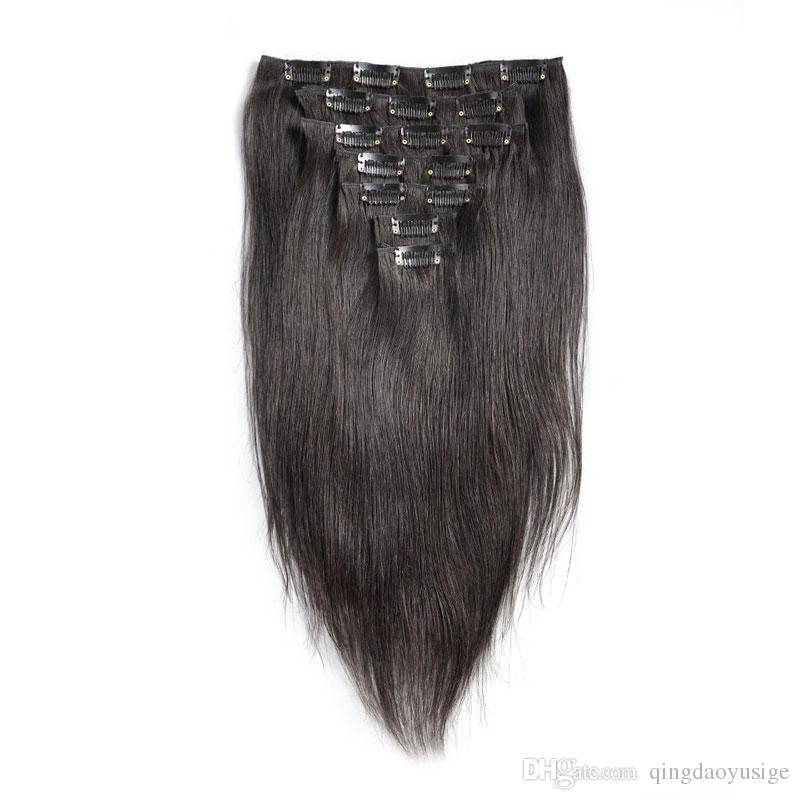 Clip In Human Hair Extensions Indian Virgin Hair Clip In Extensions