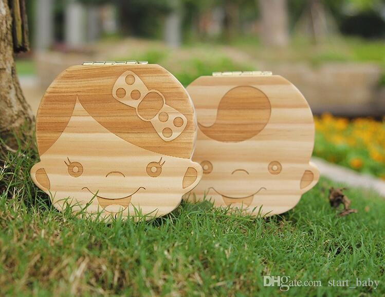 Tooth Box for Baby Save Milk Teeth Boys/Girls Image Wood Storage Boxes Creative Gift for Kids Travel Kit A080