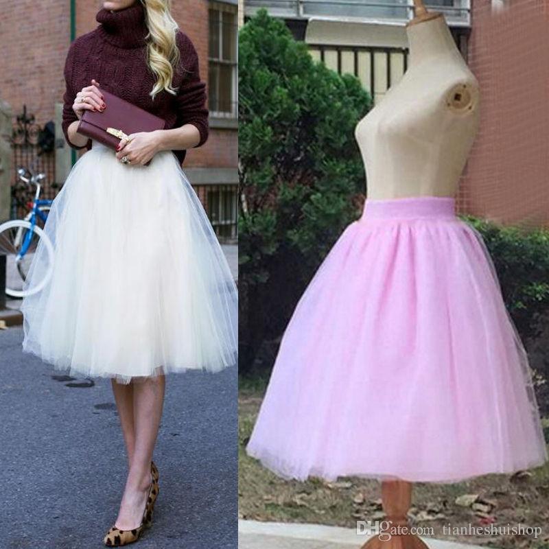 db343c0cd7 2019 New Custom Skirt Puff Women Chiffon Tulle Skirt High Waist Midi Knee Length  Plus Size Tutu Skirts From Tianheshuishop