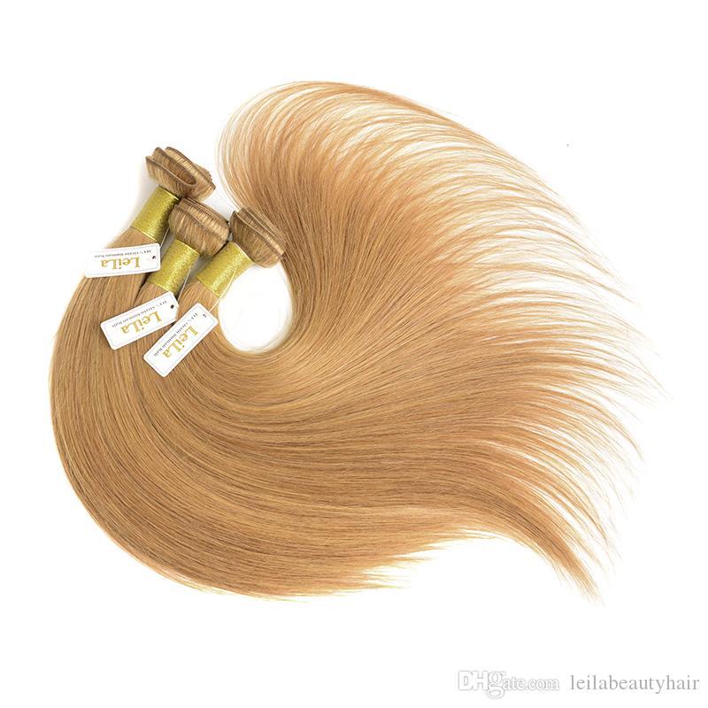 Armadura brasileña de pelo virgen Paquetes de color 27 # Miel Rubio Peruano Malayo Indio Eurasiático Ruso Sedoso Extensiones de cabello humano