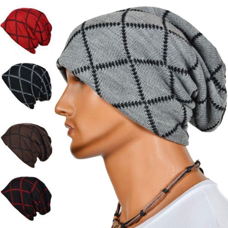 Fashion Autumn Winter Men Geometric Patterns Knitted Hats Caps Warm ...