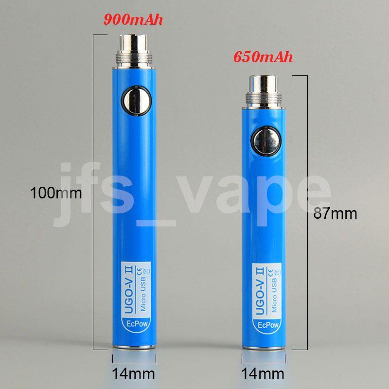 100% EVOD Micro USB Passthrough Charge UGO Vape Pens Battery with Charger Cable 510 Thread UGO T Vaporizer 650mAh 900mAh eGo eCig Cigarettes