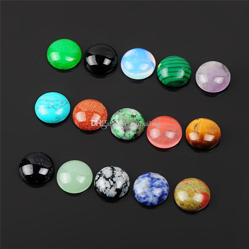 Pick Size 8mm 10mm 12mm Half Round Flat Back Mixed Random Natural Stone Onyx Obsidian Agate Beads Cabochons for Craft Jewelry Making
