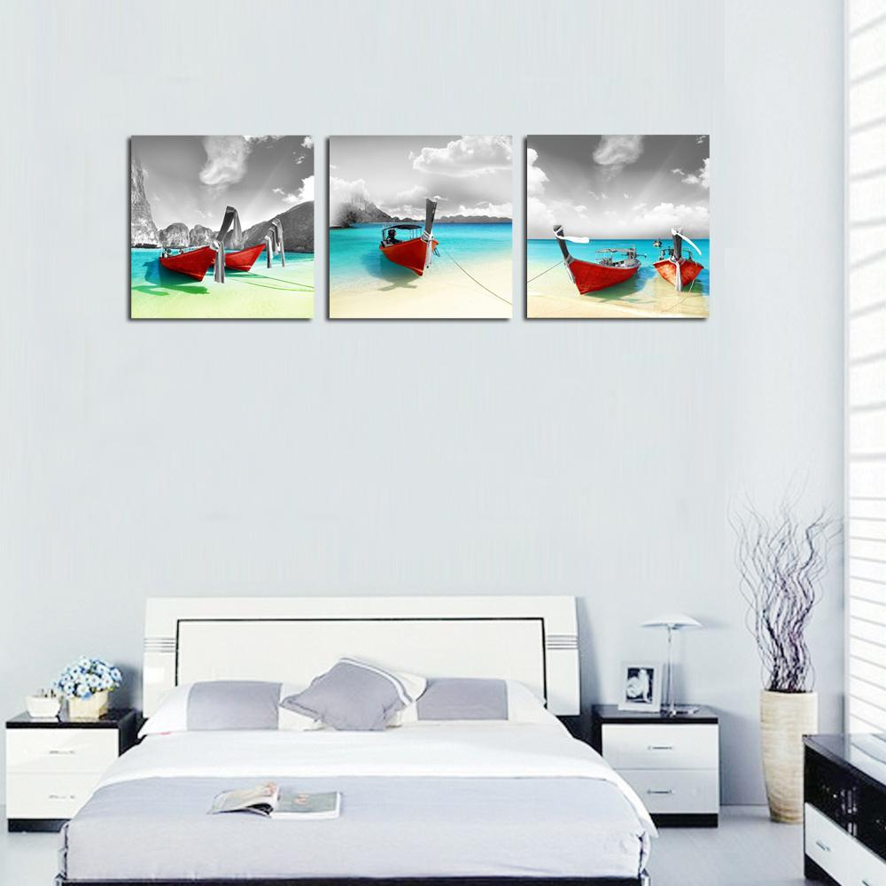 3 Panles Red Boat on Seaside Canvas Painting Seascape Picture Print Wall  Art Painting with Wooden Framed For Home Decoration