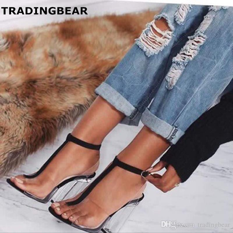 448dc5cfae0c New Crystal Shoes Clear PVC Transparent Sandals Chunky Heels Women Prom Club  Party Shoes Size 35 To 40 Platform Heels Black Sandals From Tradingbear