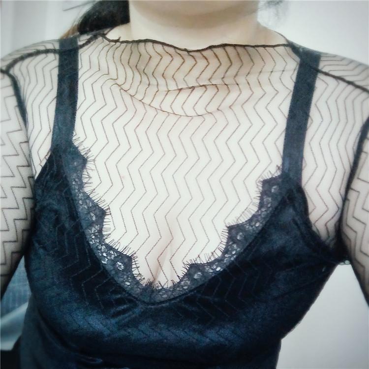 Women Sexy Harajuku Mesh Net See Through T Shirt Hollow Transparent Undershirt Star Dot Base Top Camisas Femininas Clubwear Fashion Hot TS01