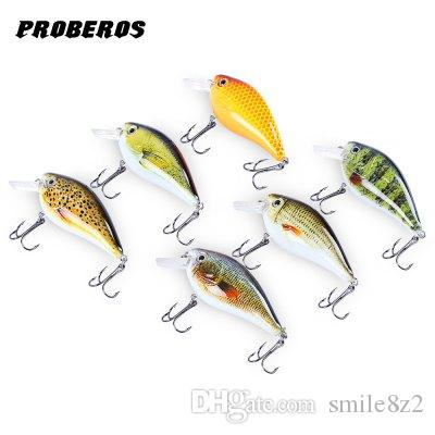 "6pcs Proberos Brand Fishing lure 3""-7.6cm Fishing Bait 12.75g Crankbait 6 Color Fishing Tackle 6# Hook Fish Lures 3D Eyes Lures +B"