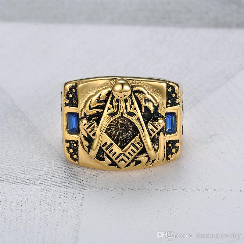 2017 Popular 316L Stainless Steel Blue Sapphire CZ Freemason Masonic Men Ring Free mason Master Signet Masonic Ring for men high quality