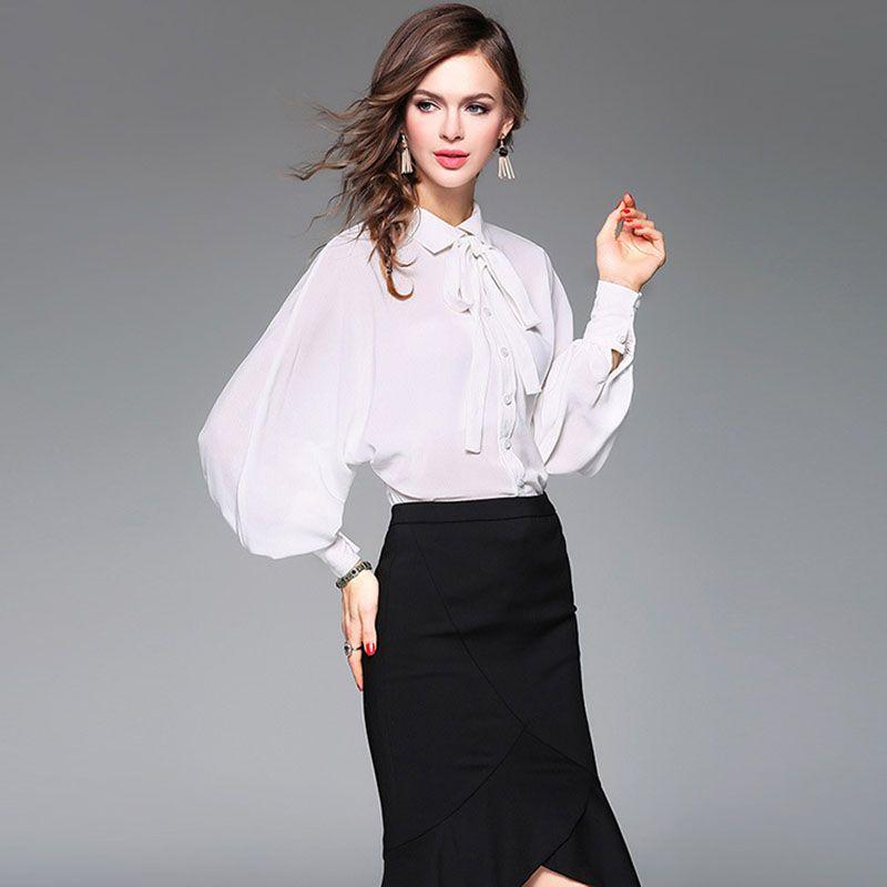 e8a36253486f8 2019 Spring Runway Designer Silk Shirt Women S High Quality Lantern Sleeve  Peter Pan Collar Bow Pure White Blue Career Blouse Top YA1 From Yuandhmen