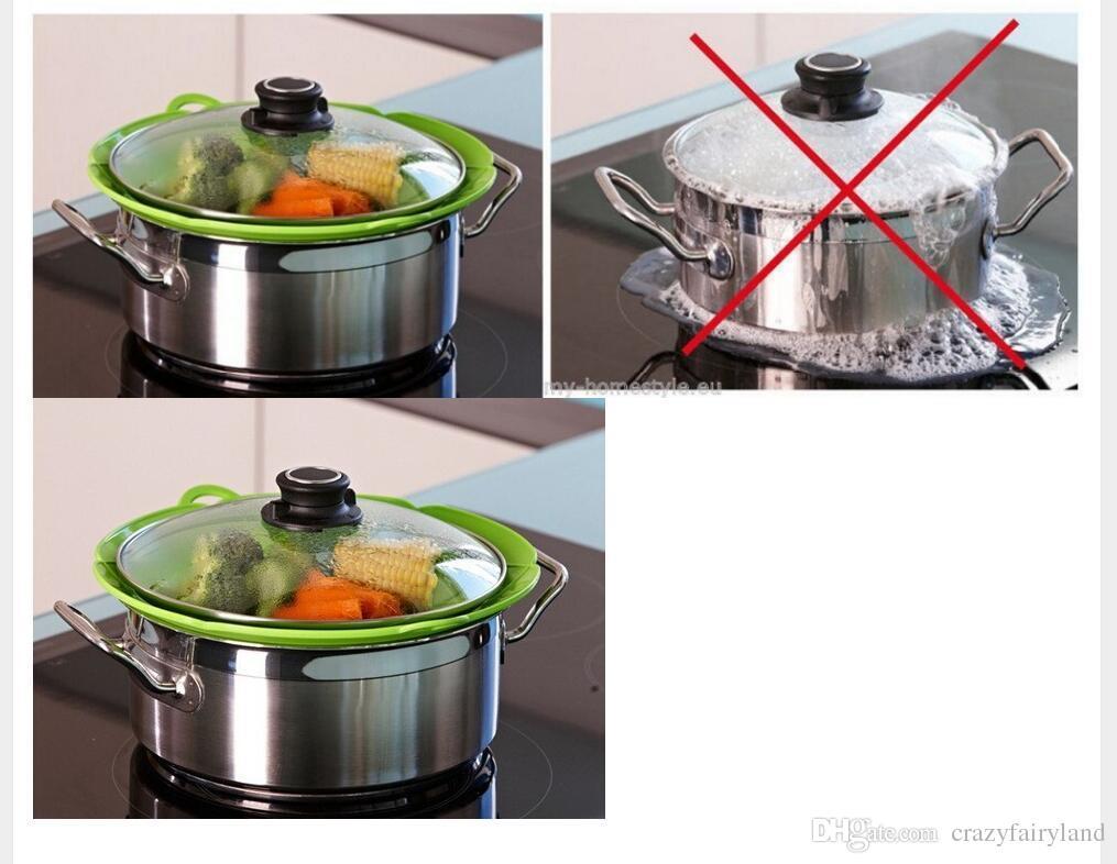 Silikon Kapak Için Tava Stoper Silikon Kapak Kapak Pan Pişirme Araçları Çiçek Tencere Parçaları Mutfak Aletleri Kapağı DHL Ücretsiz Kargo