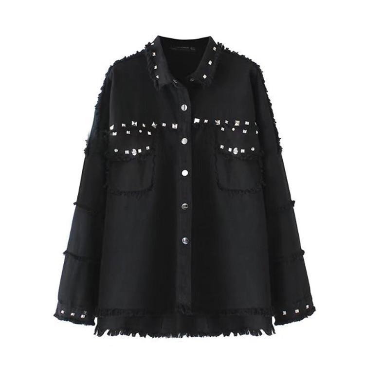 2f8918db Wholesale- Spring Rivet Denim Jacket Women Coat Black Tassel Loose ...