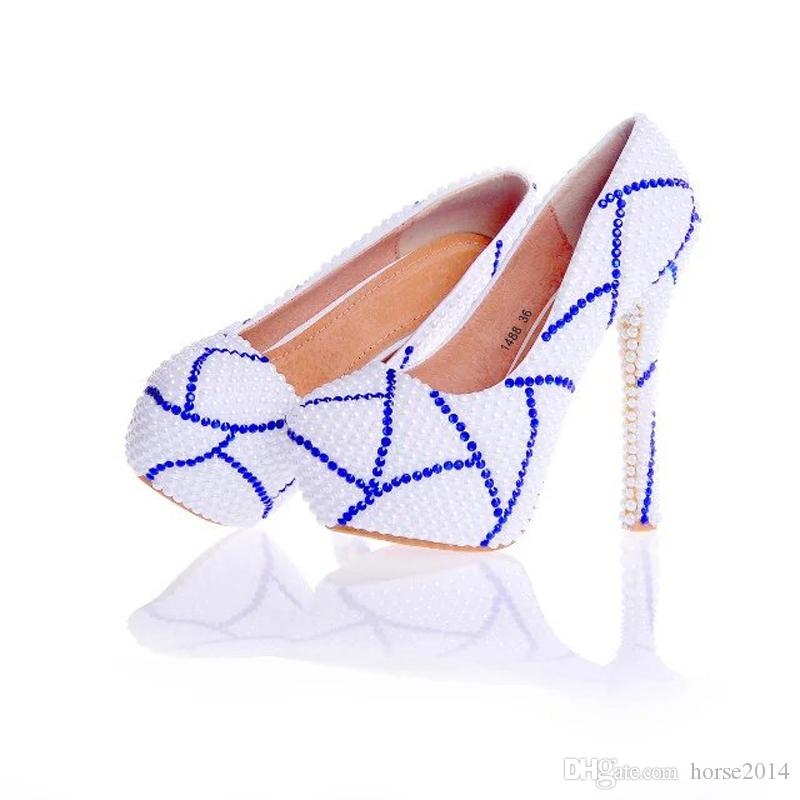 2017 New Design Custom Made White Color Bridal Wedding Shoes with Blue Rhinestone Prom Pumps Anniversary Ceremony Party Shoes