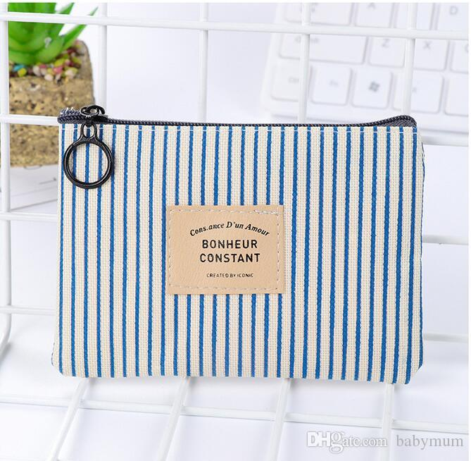 Girls Vintage stripe novely Coin Purse Canvas Pack pouch Baby Girls Beautiful Mini Coin Bags Kids Printed Clutch Handbag wallets