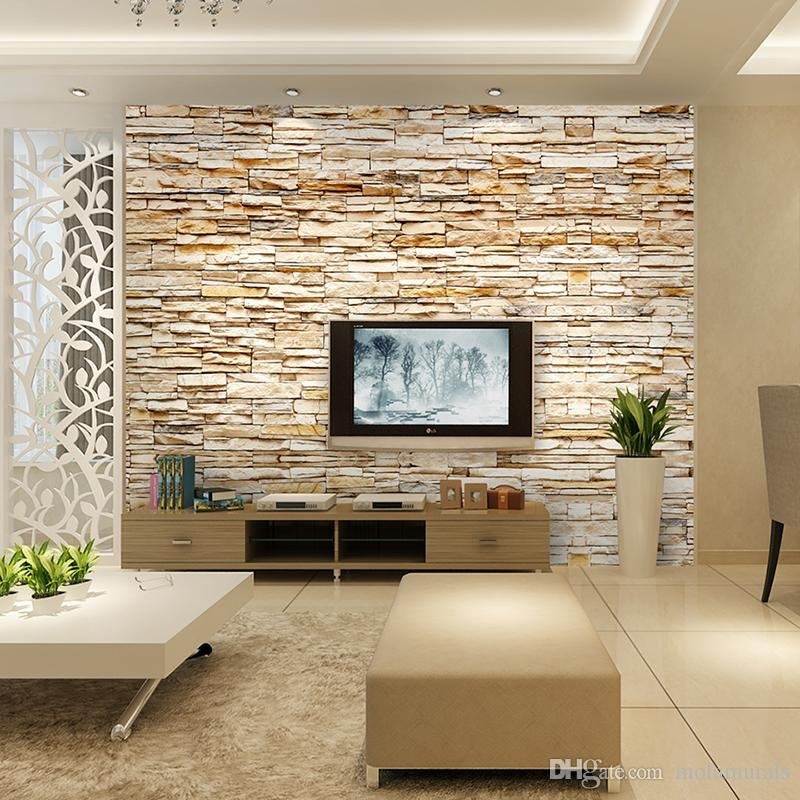 Non-Woven Fashion 3d Stone Bricks Wallpaper Mural For Living Room Sofa Background Walls Home Gold Wallpaper 3D Home Decor
