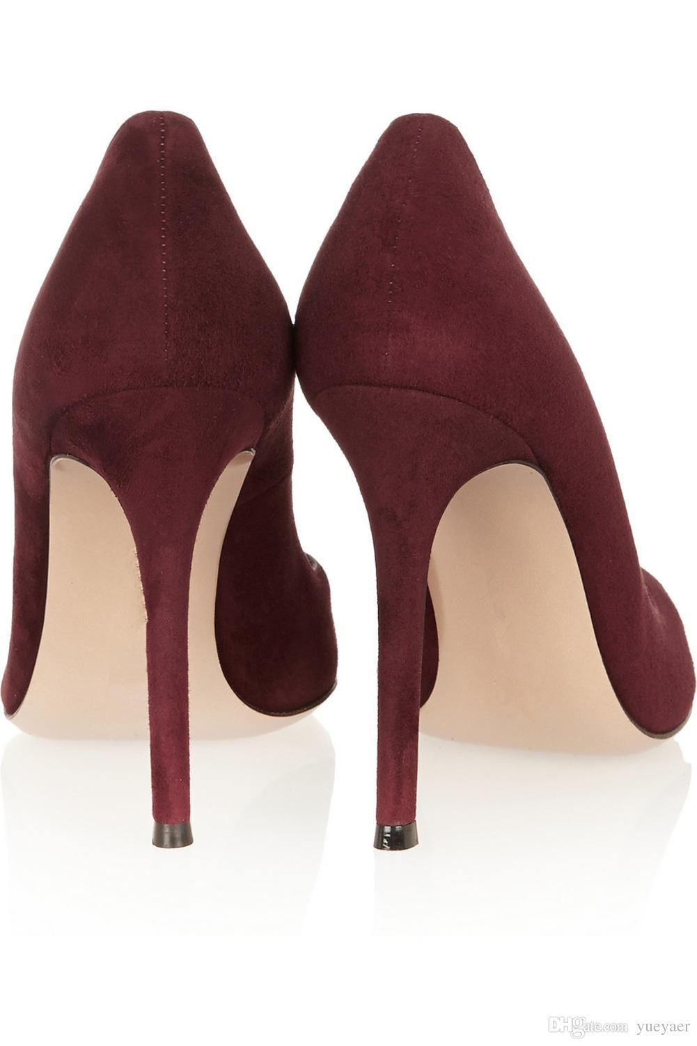 Zandina Bayanlar El Yapımı Moda Marka Sivri Burun 100mm Yüksek Topuk Ofis Parti Temel Ayakkabı Pompaları KaranlıkKırmızı