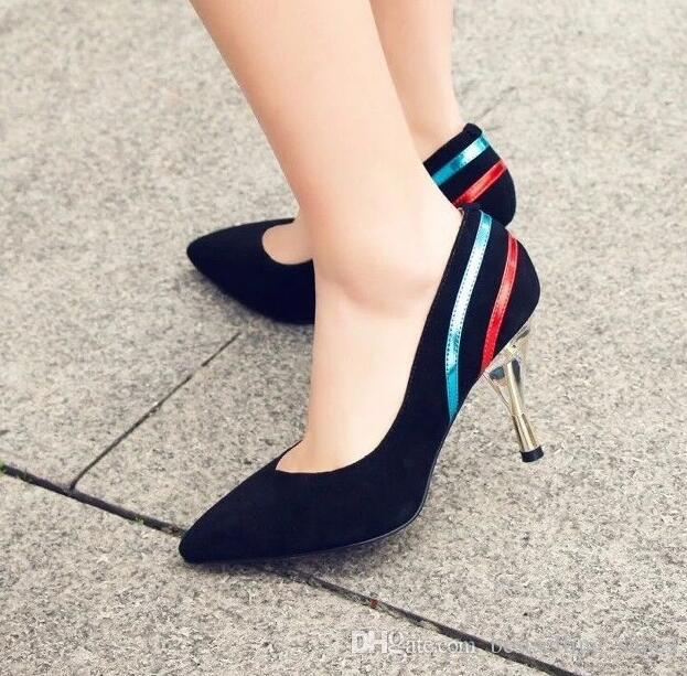17 spring and summer new crystal wine glass thin heel mixed color frosted leather white wild high heels work shoes women paumps