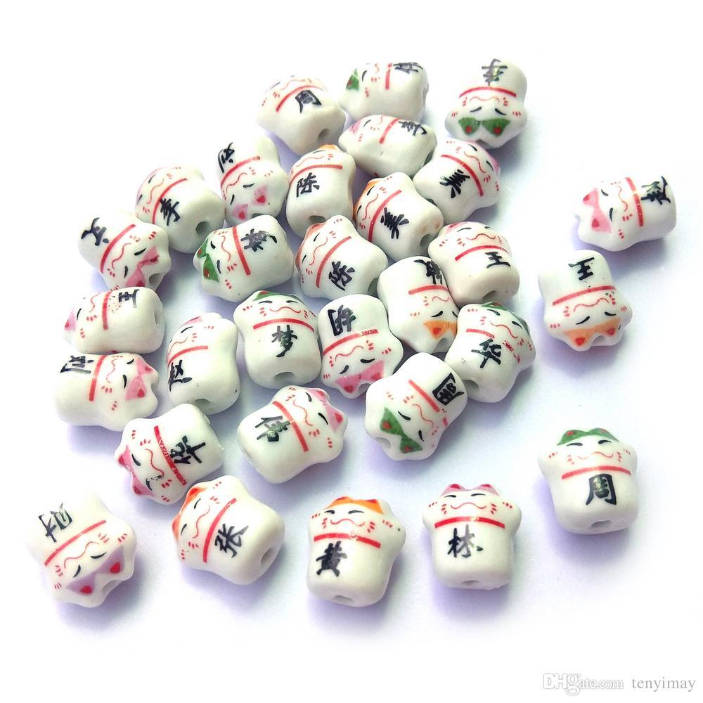 Color mezclado colgantes de cerámica forma del gato venta al por mayor 50 unids / lote caracteres chinos encantos para DIY envío gratis