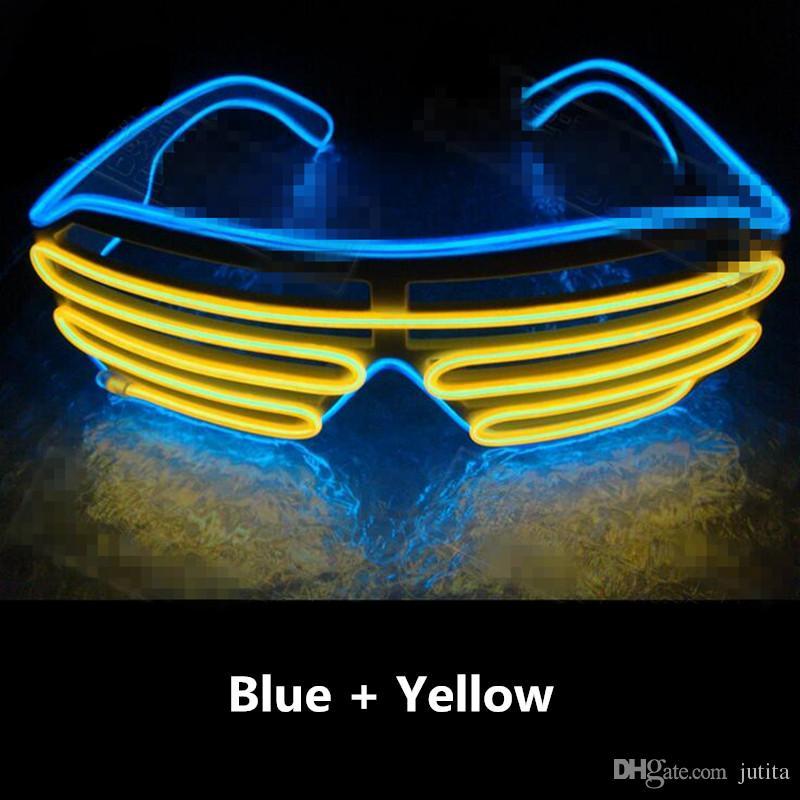 EL двойной цвет мигающие очки LED Light-Up Eye Glasses бар ночной клуб Dress украшения Glow Party Supplies